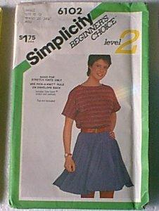 Mini Skirt Stretch Knit Beginners Choice Lvl 2 Simplicity Sewing Pattern 6102 Sz 10 12
