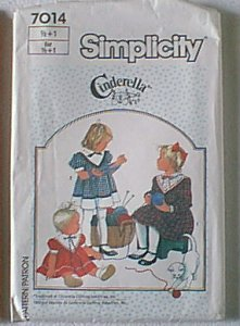 Cinderella Toddlers Dress Simplicity Sewing Pattern 7014 Sz ½ 1 Uncut