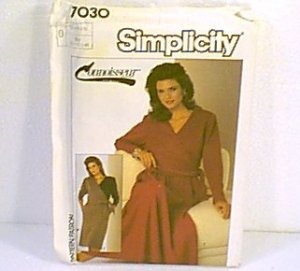 Connoisseur Misses Dress Straight or ½ Circle Skirt Simplicity Sewing Pattern 7030 Uncut 12 14 16