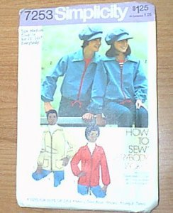 """How to Sew Everybody Jacket Simplicity Pattern 7253 Sz Med 35"""" Uncut"""