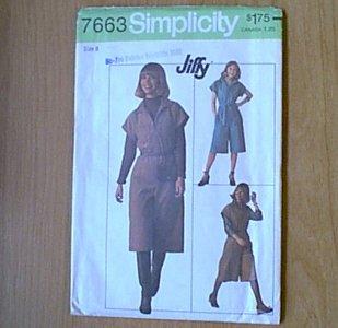 Misses Jiffy Pant Dress Simplicity Sewing Pattern 7663 Sz 8 Uncut