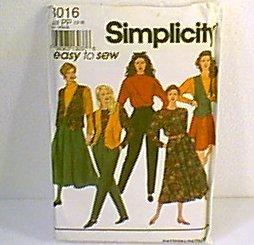 Misses Skirts 2 Lengths Pants Top Blouse Lined Vest Simplicity Sewing Pattern 8016 Sz 12 - 18 Uncut