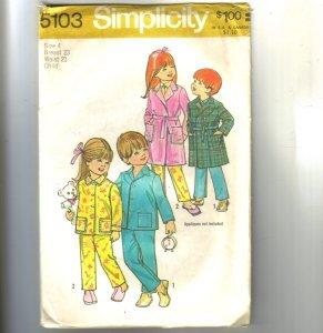 Childs Robe & PJs Pajamas Simplicity Pattern 5103 Sz 4 Cut
