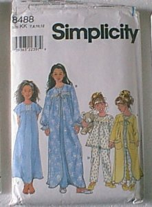 Childs Sleepwear Gown Robe PJs Pajamas Simplicity Sewing Pattern 8488 Sz 7 8 10 12 Cut