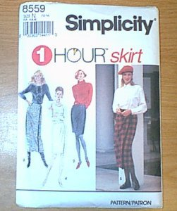 One Hour Skirt Misses Set of Skirts Simplicity Sewing Pattern 8559 Sz 10 - 14 Uncut