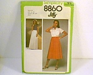 Misses Front Wrap Skirt 2 Lengths Simplicity  Jiffy Sewing Pattern 8860 Sz 14 - 16 Cut