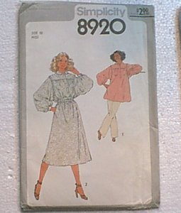 Misses Pullover Tunic or Dress & Sash Simplicity Sewing Pattern 8920 Sz 10 Miss Uncut