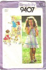 Child 2 Pc Dress 2 Pc Playsuit Simplicity Sewing Pattern 9407 Sz 4 Child Cut