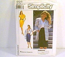 Damon Inc Overlock Misses Dress Unlined Jacket Simplicity Sewing Pattern 9511 Sz 16 0 24 Uncut