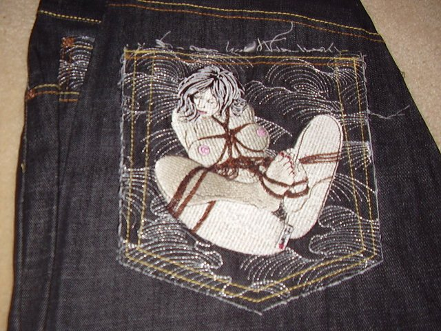 Red Monkey wave jeans w/ posing woman 42x34