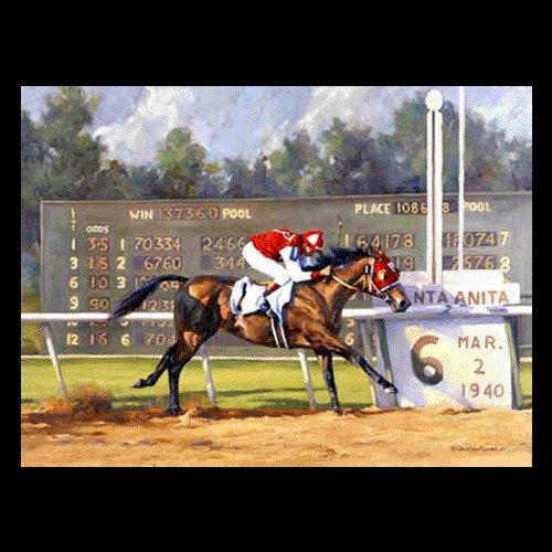 "HORSE RACING OIL PAINTING ON CANVAS 20""X24"""