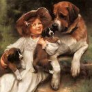 "LITTLE GIRL AND HER DOGS OIL PAINTING ON CANVAS 20""X24"""