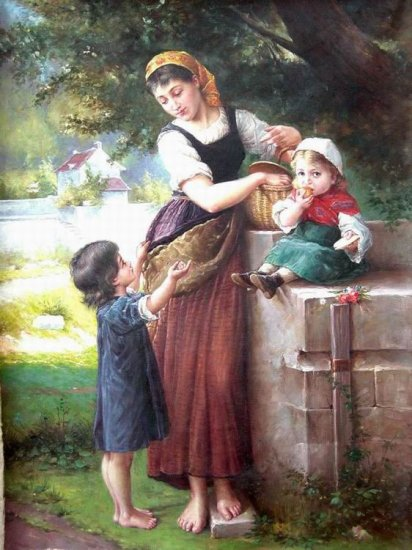 """MUM AND HER KIDS OIL PAINTING ON CANVAS 20""""X24"""""""