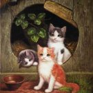 "TWO CATS OIL PAINTING ON CANVAS 12""X32""X3 PIECES"