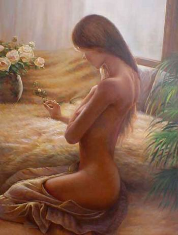 "NUDE GIRL OIL PAINTING ON CANVAS 20""x24"