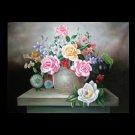 "FLOWERS OIL PAINTING ON CANVAS 20""X24"""
