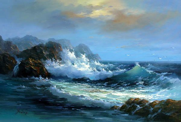 """BOAT-SEA 034 OIL PAINTING ON CANVAS 20""""X24"""""""