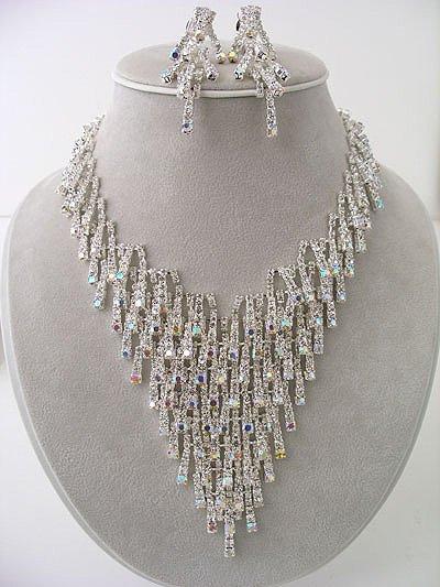 """""""Ice"""" AB Rhinestones Sparkle like ICE Necklace/Earring Set Reg $149.99"""