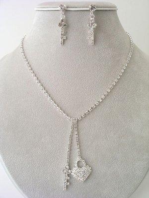 Heart & Key Necklace/Earring Set Reg $46.99