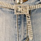 3 Line Rhinestone Adjustable Belt Reg $109