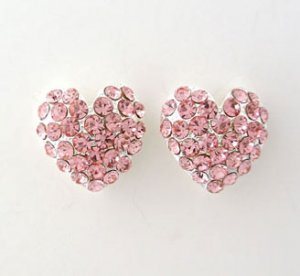 Heart Formal Wear Rhinestone Earrings $24.99
