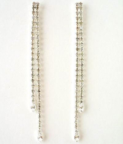 2 Inch Rhinestone Straight Drop Earrings Reg $32