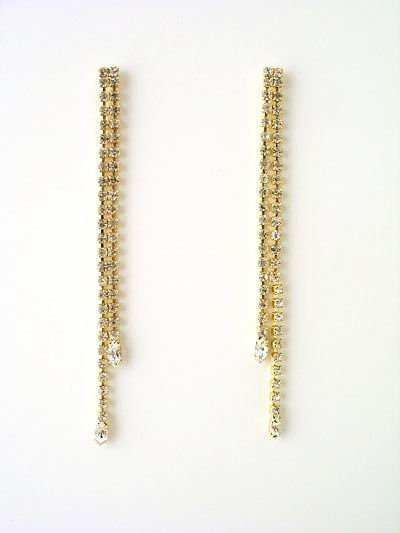 2 Inch Rhinestone Straight Drop Earrings Reg $32