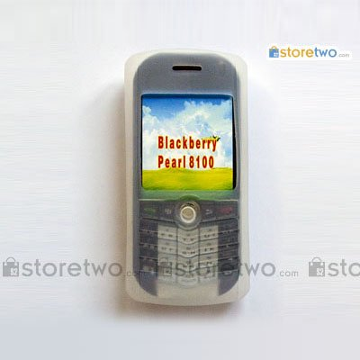 Silicon Skin Case for RIM BlackBerry Pearl 8100 - White