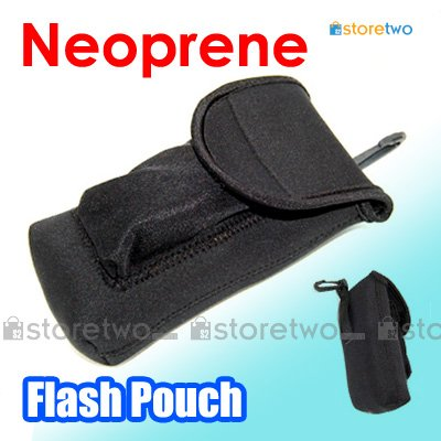 JJC Soft Neoprene Pouch for Electronic Flash with Wide Belt Loop and Snap Hook