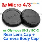 Rear Lens + Camera Body Caps for Micro 4/3 Four Thirds Camera