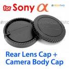 Rear Lens + Camera Body Caps for Sony Alpha Camera