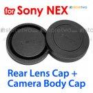 Rear Lens + Camera Body Caps for Sony NEX E-Mount Camera NEX-3 NEX-5