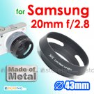 JJC Metal Screw-in Vented and Tilted 43mm Lens Hood for Samsung NX 20mm f/2.8