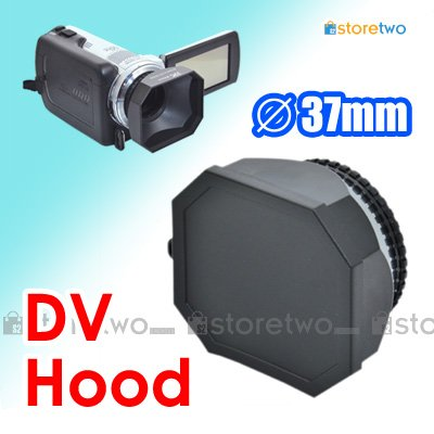 JJC 37mm Square Lens Hood for DV Camcorder with Lens Cap and Lens Keeper