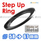 Step Up 58mm to 67mm Filter Ring Adapter Mount Metal