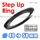 Step Up 49mm to 58mm Filter Ring Adapter Mount Metal