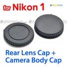 Rear Lens + Camera Body Caps for Nikon 1 Camera