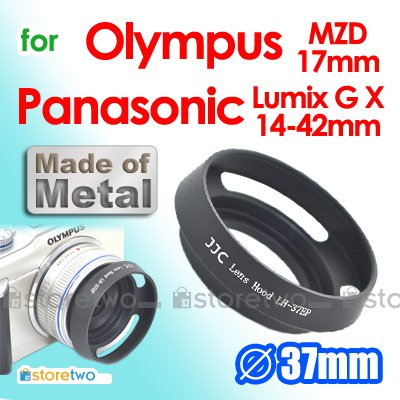 JJC Metal Screw-in Vented and Tilted 37mm Lens Hood for Olympus MZD 17mm Panasonic Lumix 14-42mm