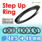 Step Up 40.5mm to 49mm Filter Ring Adapter Mount Metal