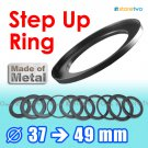 Step Up 37mm to 49mm Filter Ring Adapter Mount Metal