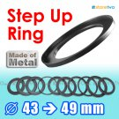 Step Up 43mm to 49mm Filter Ring Adapter Mount Metal