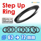 Step Up 62mm to 72mm Filter Ring Adapter Mount Metal