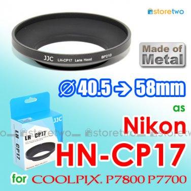 HN-CP17 - JJC Metal Lens Hood for Nikon Coolpix P7800 P7700 58mm Filter Thread