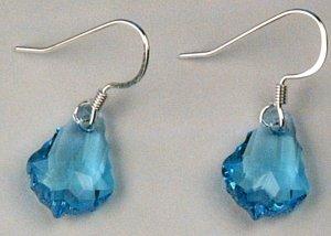 Blue Teardrop Earrings by One Red Feather 32-0001
