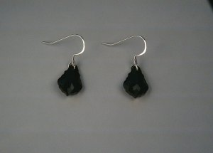 Black Teardrop Earrings by One Red Feather 32-0002