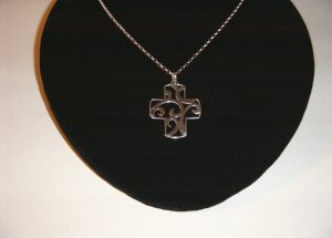 Sterling Filigree Cross on 18in SS Chain 30-0026