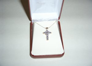 Sterling Silver Tanzinite Cross on 18in chain 30-0016