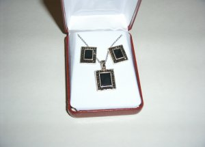 SS Onyx and Marcasite Necklace & Earring Set 30-0022
