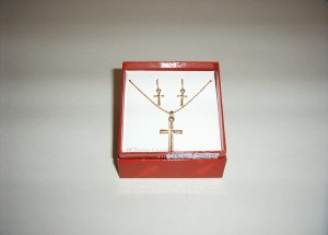 Fashion Gold Plated Cross Necklace & Earrings 30-0030