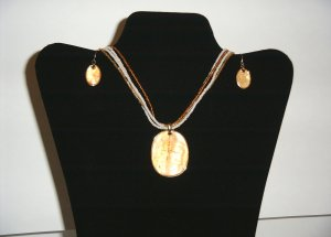 Fashion Gold Plated Amber Necklace & Earrings 30-0029
